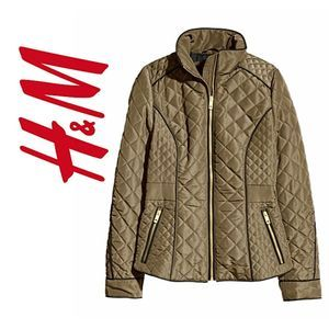 H&M Army Green Quilted Jacket Sz 2